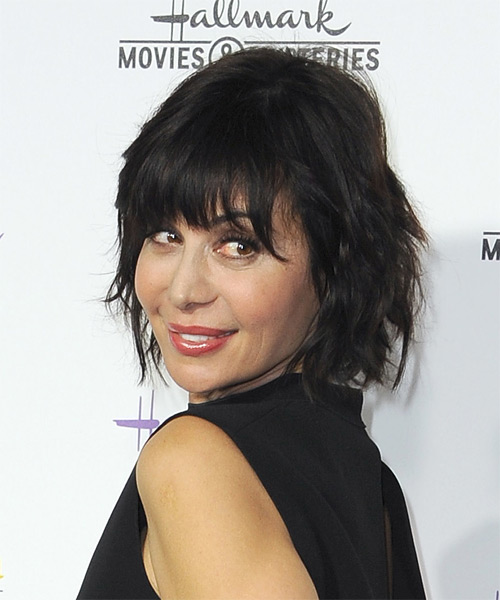 Catherine Bell Medium Straight Casual   Hairstyle with Layered Bangs  - Black - Side on View