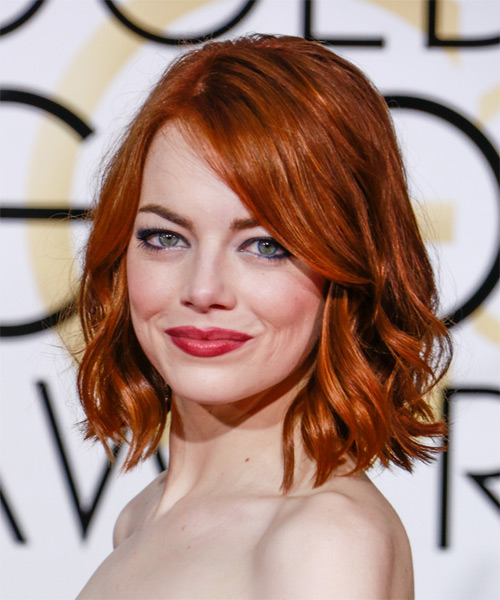 Emma Stone Medium Wavy Casual   Hairstyle   - Dark Red (Ginger) - Side on View
