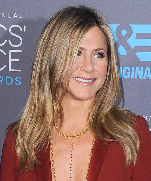 Jennifer Aniston Long Straight Casual   Hairstyle   - Light Brunette (Chestnut) - Side on View