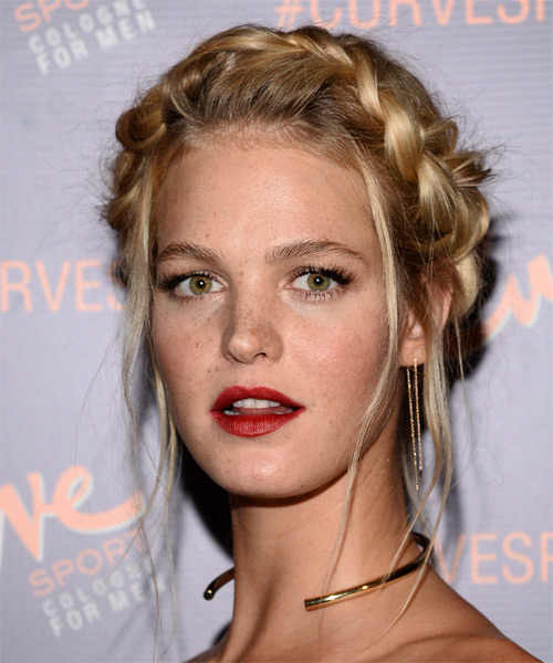 Erin Heatherton Long Straight Casual Braided Updo Hairstyle   - Dark Blonde - Side on View
