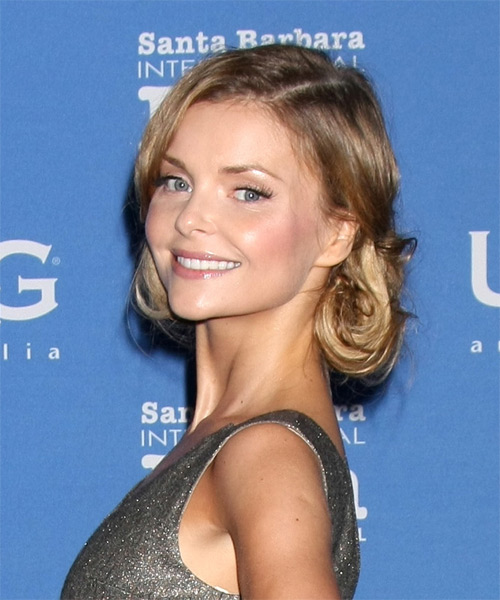 Izabella Miko Long Straight Formal  Updo Hairstyle   - Light Brunette - Side on View