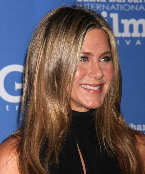 Jennifer Aniston Long Straight Casual    Hairstyle   - Light Brunette Hair Color - Side on View