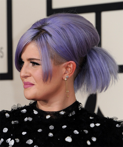 Kelly Osbourne Medium Straight Formal  Updo Hairstyle with Side Swept Bangs  - Side on View