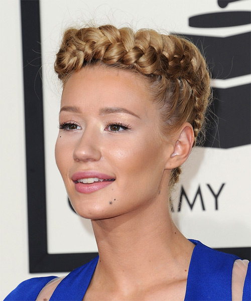 Iggy Azalea Long Straight Formal  Braided Updo Hairstyle   - Dark Blonde Hair Color - Side on View