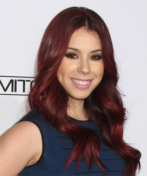 Jillian Rose Reed Long Wavy Casual    Hairstyle   -  Burgundy Red Hair Color - Side on View