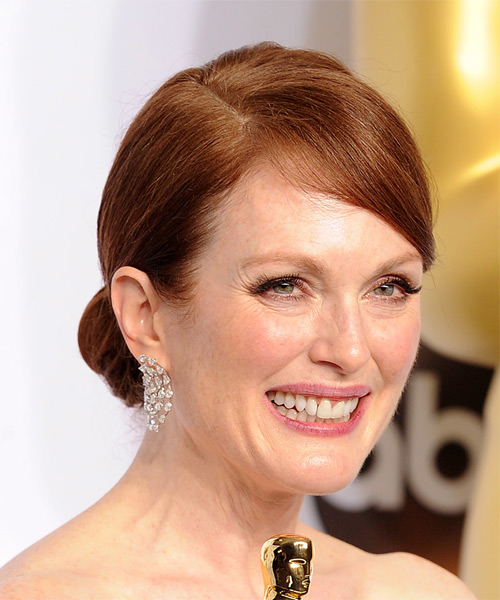 Julianne Moore Long Straight Formal Wedding Updo Hairstyle   - Medium Red - Side on View