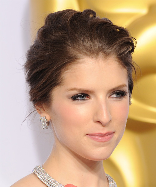 Anna Kendrick Long Wavy Formal Wedding Updo Hairstyle   - Medium Brunette (Chocolate) - Side on View