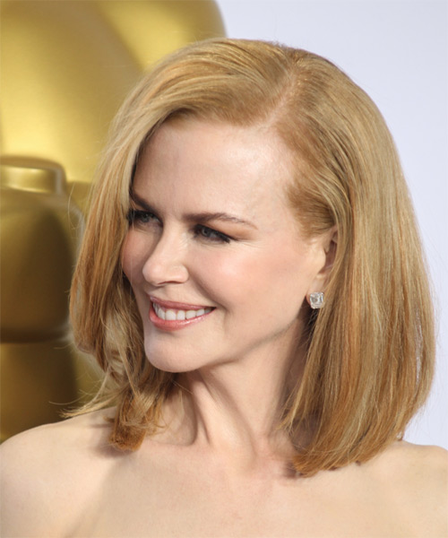 Nicole Kidman Medium Straight Formal Bob  Hairstyle   - Light Red (Copper) - Side on View