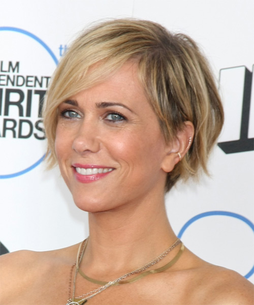 Kristen Wiig Short Straight Casual    Hairstyle with Side Swept Bangs  - Medium Blonde Hair Color - Side on View