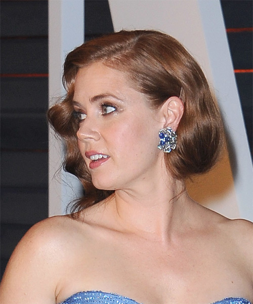 Amy Adams Medium Wavy Formal Wedding  Hairstyle   - Medium Brunette (Auburn) - Side on View