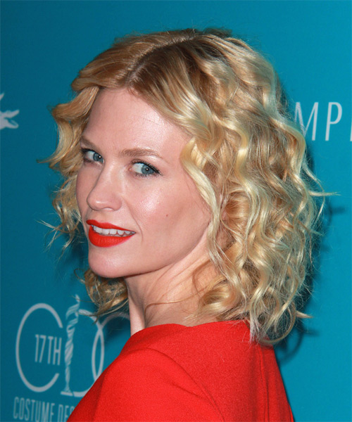 January Jones Medium Curly Casual   Hairstyle   - Medium Blonde (Golden) - Side on View