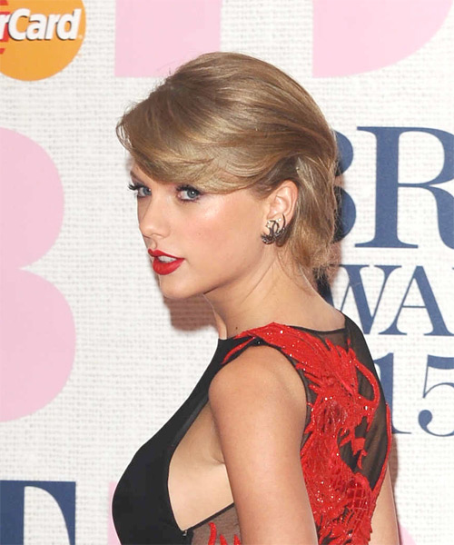 Taylor Swift Medium Straight Formal  Updo Hairstyle with Side Swept Bangs  - Dark Blonde (Ash) - Side on View