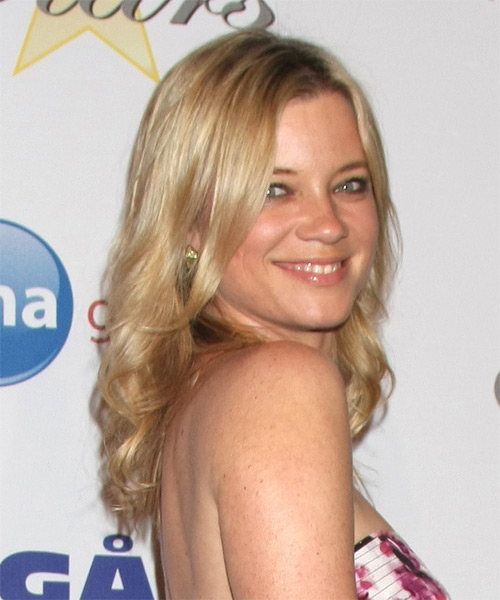 Amy Smart Long Wavy Casual   Hairstyle   - Light Blonde (Golden) - Side on View