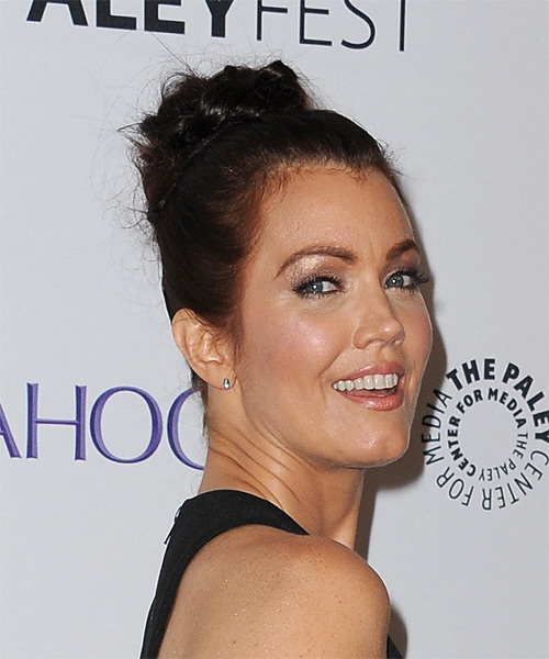 Bellamy Young Long Straight Formal Wedding Updo Hairstyle   - Dark Brunette - Side on View