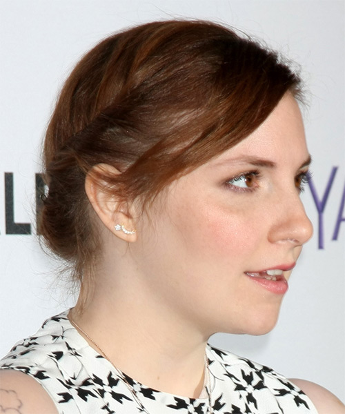 Lena Dunham Medium Straight Casual Braided Updo Hairstyle   - Medium Brunette (Auburn) - Side on View