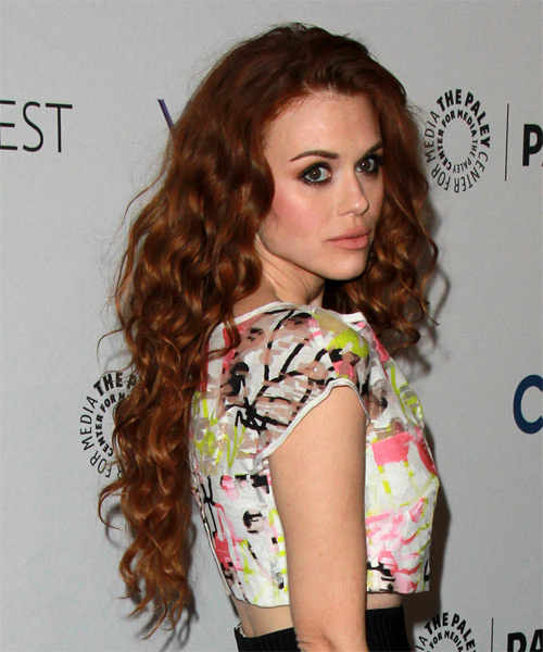 Holland Roden Long Curly Casual   Hairstyle   - Medium Red - Side on View