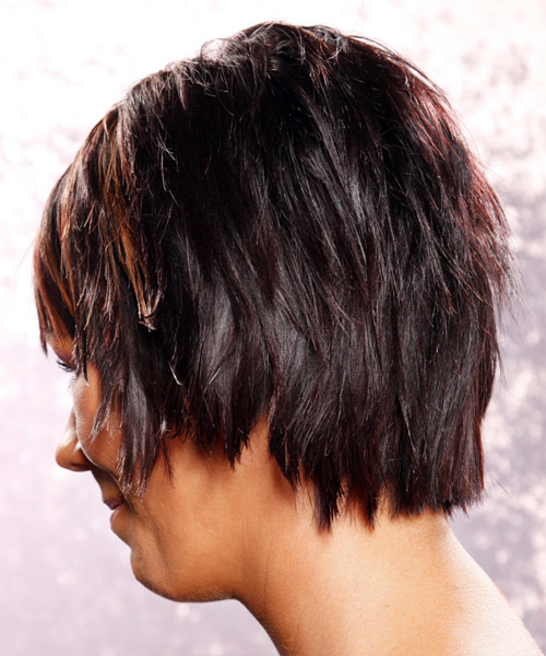 Medium Straight Casual    Hairstyle with Layered Bangs  - Dark Plum Red Hair Color with Medium Red Highlights - Side on View