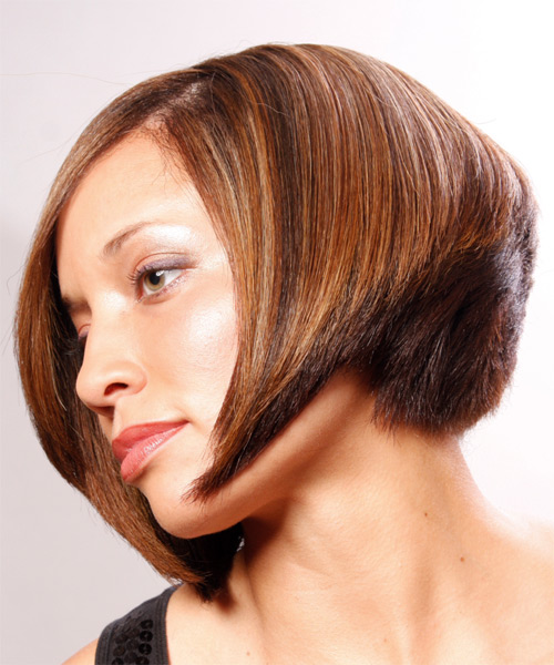 Medium Straight Formal Bob  Hairstyle with Side Swept Bangs  - Medium Brunette (Copper) - Side on View