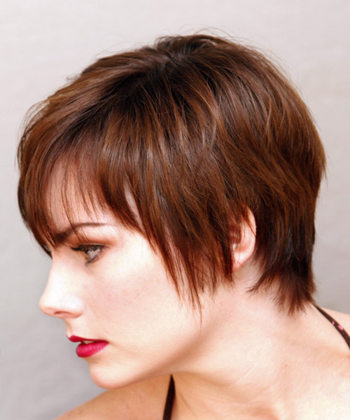 Short Straight Casual    Hairstyle   - Medium Auburn Brunette Hair Color - Side on View