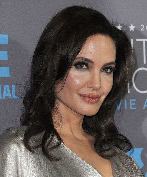 Angelina Jolie Long Wavy Formal    Hairstyle   - Dark Mocha Brunette Hair Color - Side on View