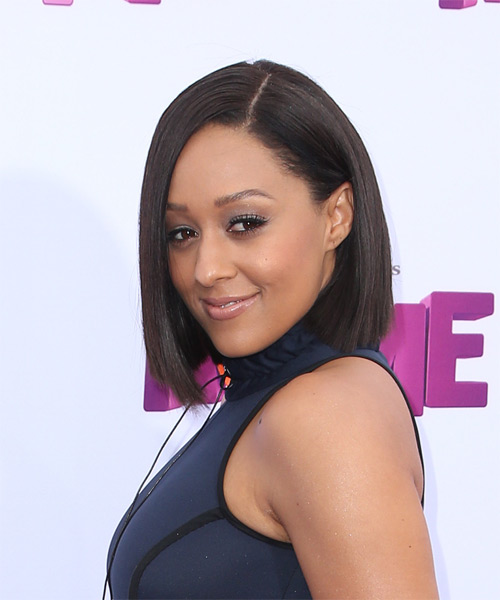 Tia Mowry Medium Straight Formal Bob  Hairstyle   - Dark Brunette - Side on View
