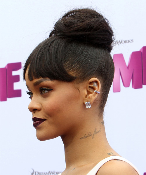 Rihanna Long Straight   Dark Mocha Brunette  Updo  with Blunt Cut Bangs  - Side on View