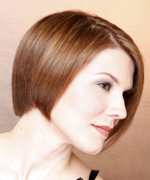Medium Straight Formal Bob  Hairstyle   (Chestnut) - Side on View