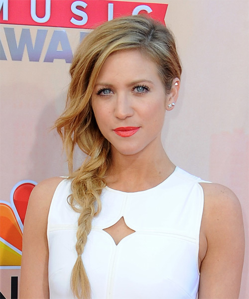 Brittany Snow Long Straight Casual  Half Up Hairstyle   - Medium Blonde (Golden) - Side on View