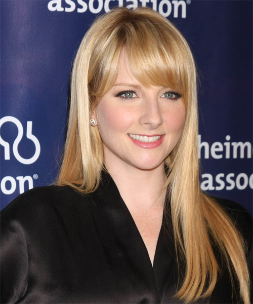 Melissa Rauch Long Straight Casual   Hairstyle with Side Swept Bangs  - Medium Blonde (Golden) - Side on View