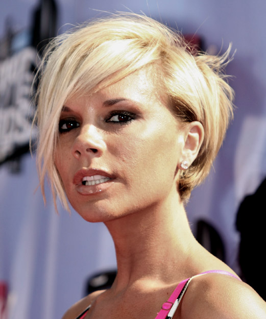 Victoria Beckham Short Straight Casual Layered Bob  Hairstyle with Side Swept Bangs  - Light Blonde Hair Color - Side on View