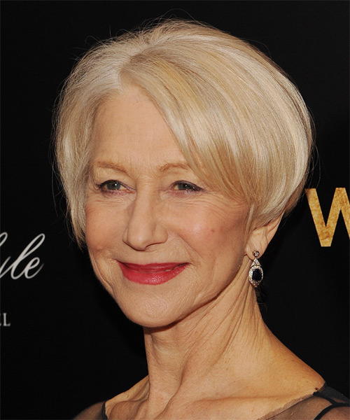 Helen Mirren Short Straight Formal    Hairstyle   - Light Honey Blonde Hair Color - Side on View