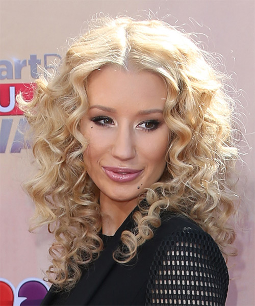 Iggy Azalea Long Curly Casual   Hairstyle   - Light Blonde - Side on View