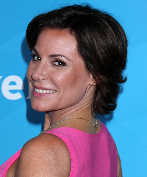 Luann De Lesseps Short Straight Casual   Hairstyle   - Dark Brunette - Side on View
