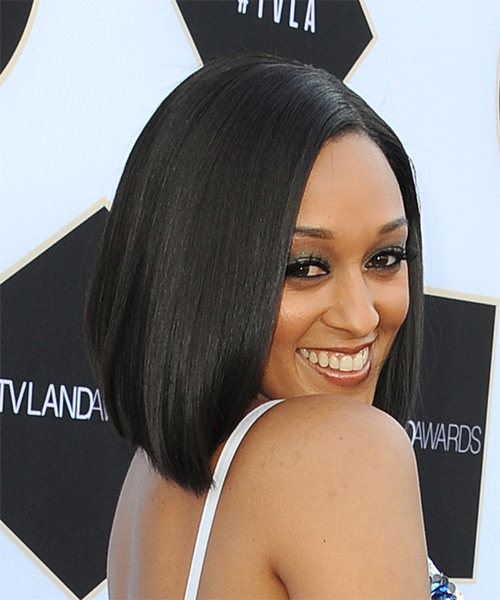 Tia Mowry Medium Straight Formal Bob  Hairstyle   - Side on View