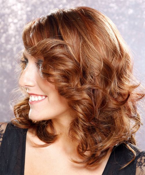 Long Wavy    Brunette   Hairstyle with Side Swept Bangs  - Side on View
