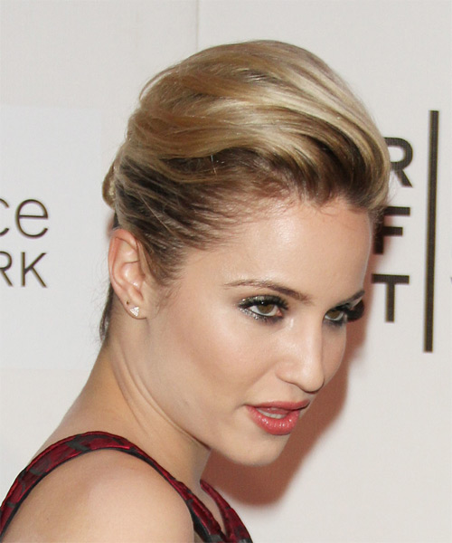 Dianna Agron Medium Straight   Light Chestnut Brunette  Updo    with  Blonde Highlights - Side on View