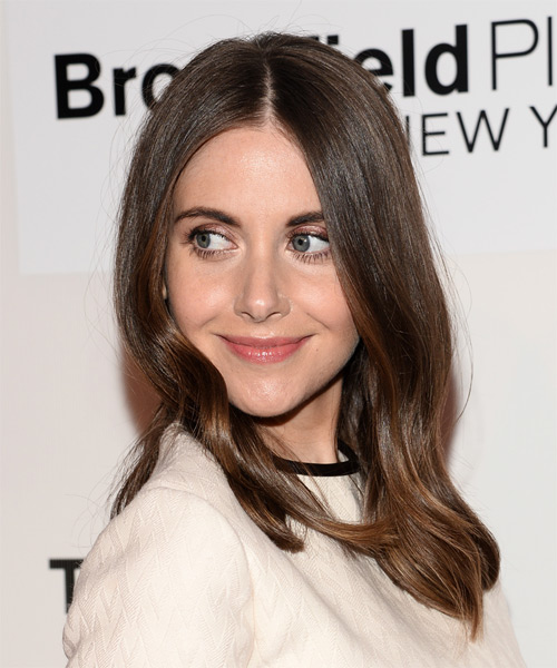 Alison Brie Medium Straight Formal   Hairstyle   - Side on View