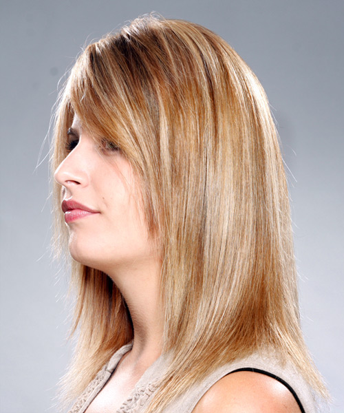 Long Straight Casual   Hairstyle with Side Swept Bangs  - Dark Blonde (Copper) - Side on View