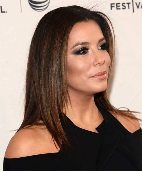 Eva Longoria Long Straight Casual   Hairstyle   - Dark Brunette - Side on View