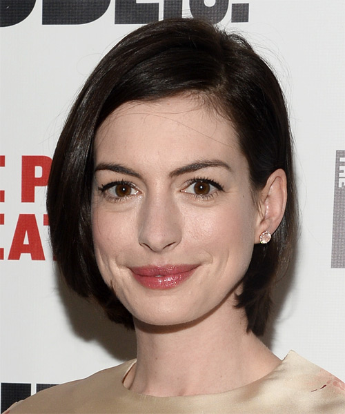 Anne Hathaway Medium Straight Casual Bob  Hairstyle   - Dark Brunette (Mocha) - Side on View