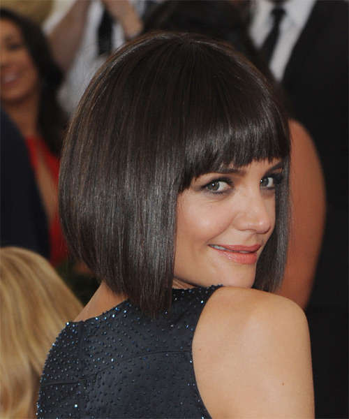 Katie Holmes Medium Straight   Dark Brunette Bob  Haircut with Layered Bangs  - Side on View