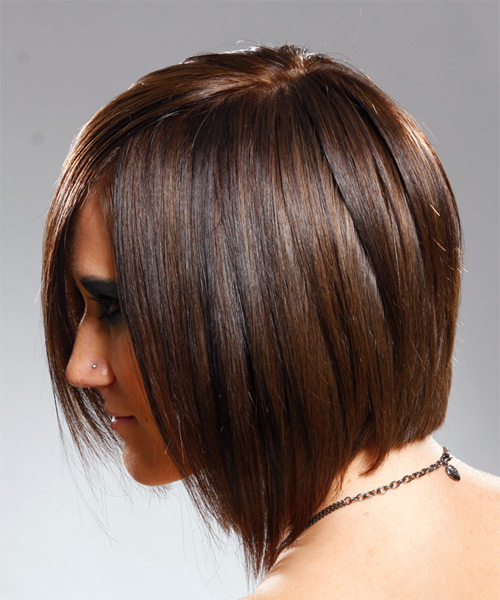 Medium Straight Alternative   Hairstyle   - Medium Brunette - Side on View