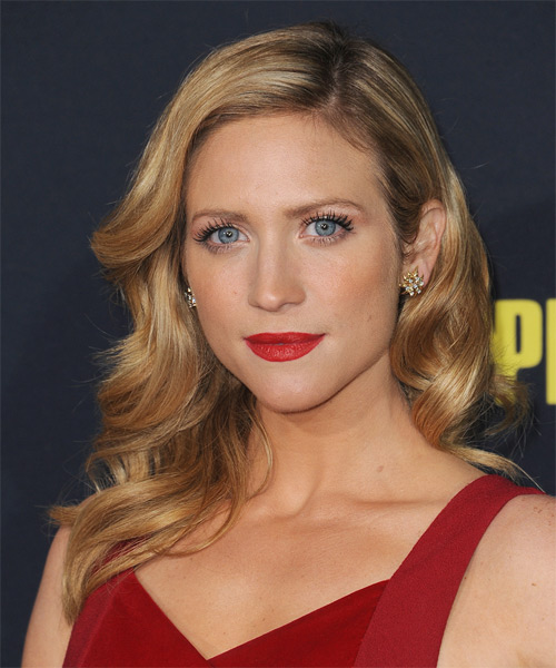 Brittany Snow Long Wavy Formal    Hairstyle   -  Honey Blonde Hair Color with Light Blonde Highlights - Side on View