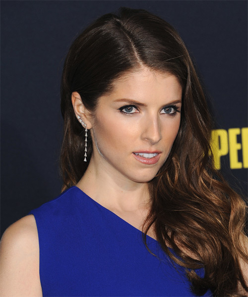 Anna Kendrick Long Wavy Formal   Hairstyle   - Dark Brunette - Side on View