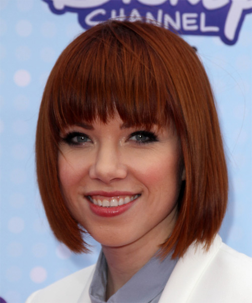 Carly Rae Jepsen Medium Straight Formal  Bob  Hairstyle with Razor Cut Bangs  -  Red Hair Color - Side on View