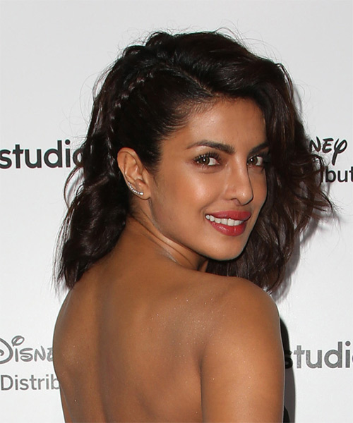 Priyanka Chopra Medium Wavy Formal Wedding Half Up Hairstyle   - Dark Brunette - Side on View