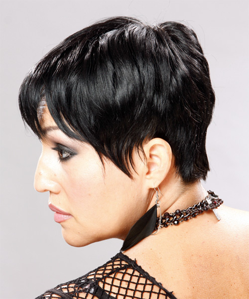 Short Straight Casual Pixie  Hairstyle   - Black (Mocha) - Side on View