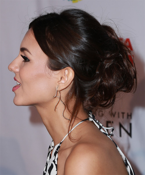 Victoria Justice Long Wavy Formal Wedding Updo Hairstyle   - Dark Brunette - Side on View