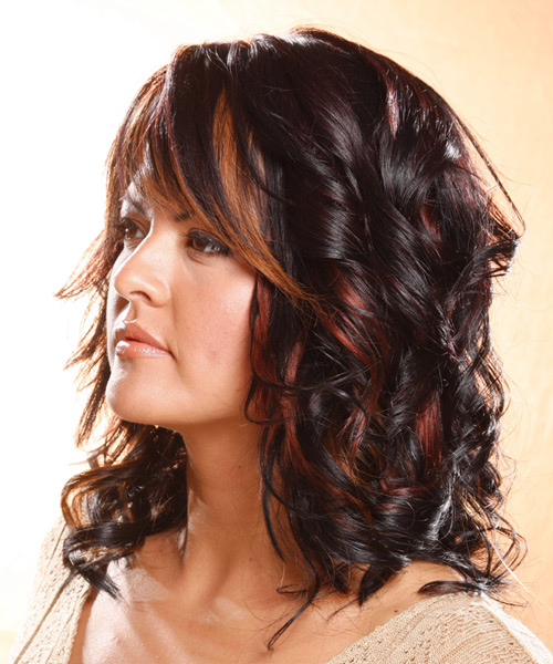 Long Wavy   Dark Plum Brunette   Hairstyle with Layered Bangs  and  Red Highlights - Side on View