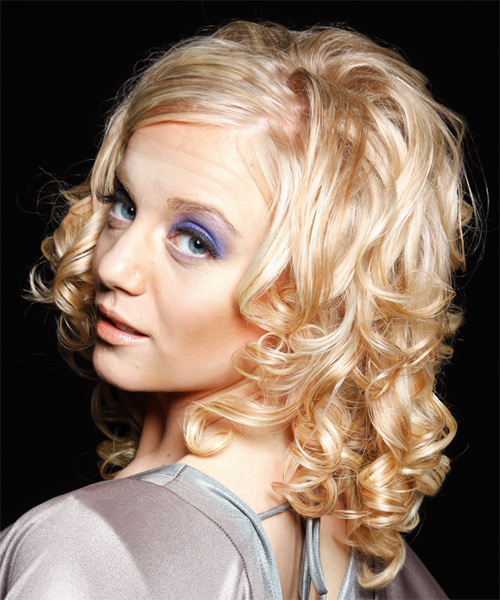 Long Curly Formal   Hairstyle   - Light Blonde (Honey) - Side on View